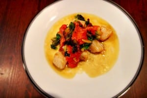 Bay scallops with brown butter, bacon & lemon